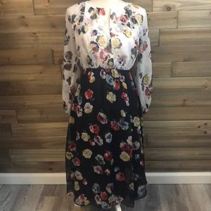 NWT Ann Taylor Floral Print Pleated Dress Size 6P